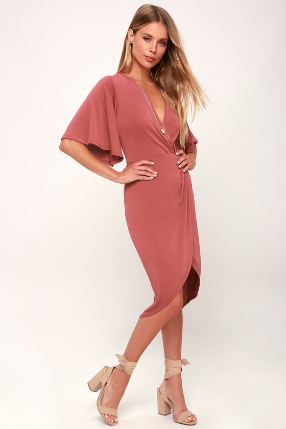 Cute Rusty Rose Dress - Midi Dress - Surplice Dress ...