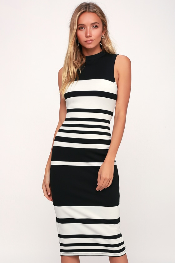 Black and white striped bodycon dress without sweden lilly