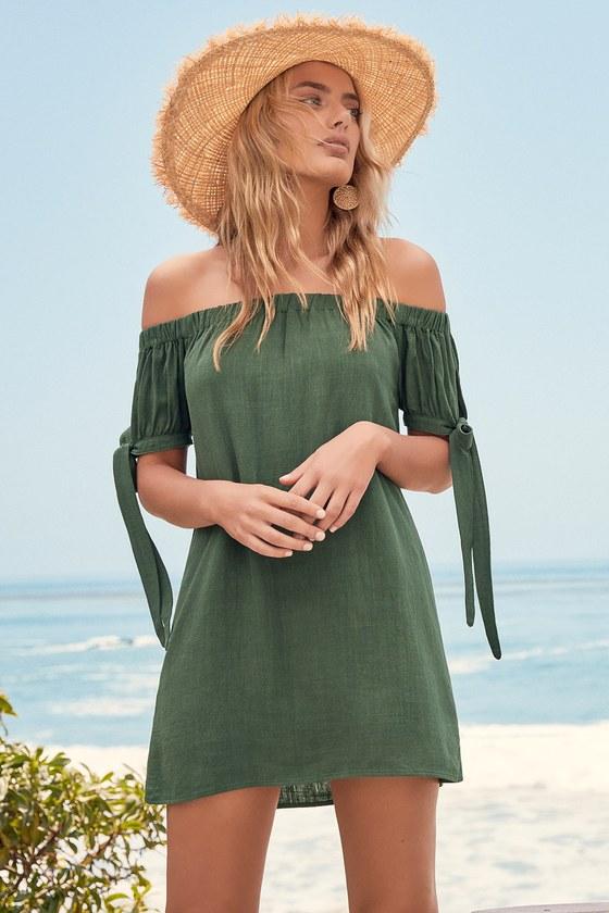 2c014abf8a8bf Lovely Olive Green Dress - Off-the-Shoulder Shift Dress
