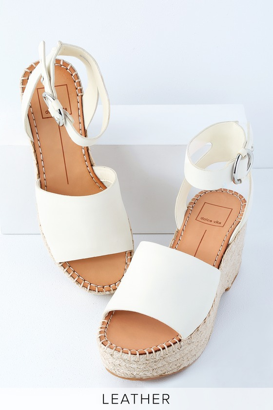 Dolce Vita Lesly Off White Leather Wedges Espadrille