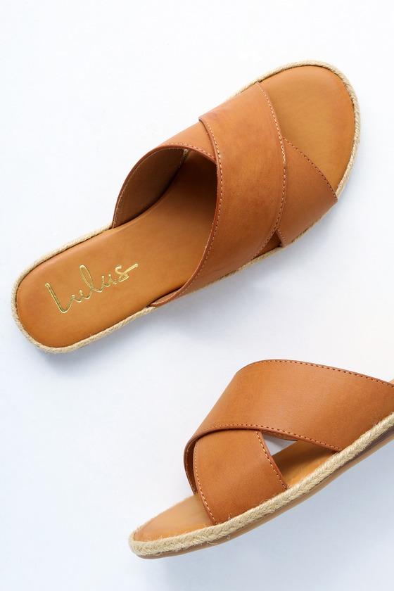 Tan Slide Sandals Espadrille Slides Vegan Leather Slides