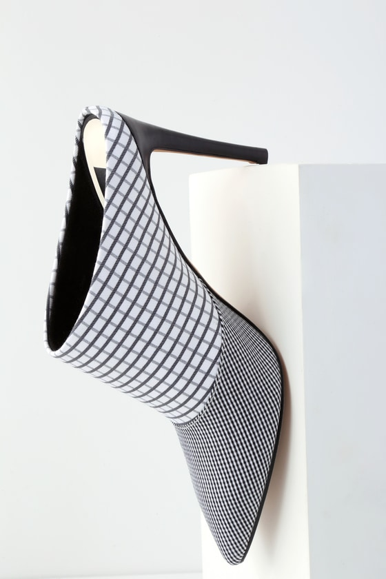 Cinda Black and White Grid Print Pointed Toe Mules 2