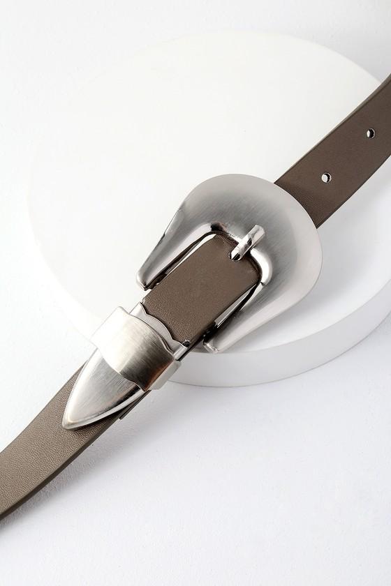 Showboat Charcoal Grey Double Buckle Belt 2