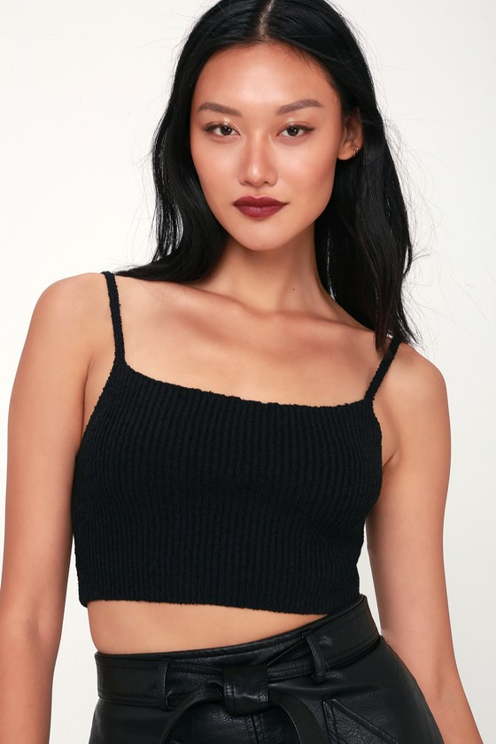 SO FLY BLACK KNIT CROPPED TANK TOP