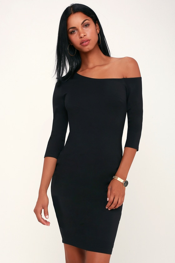 PRECIOUS THING BLACK ASYMMETRICAL OFF-THE-SHOULDER DRESS
