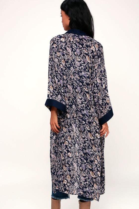 LUSH Kimono Top - Navy Blue Floral Kimono - Blue Kimono Top