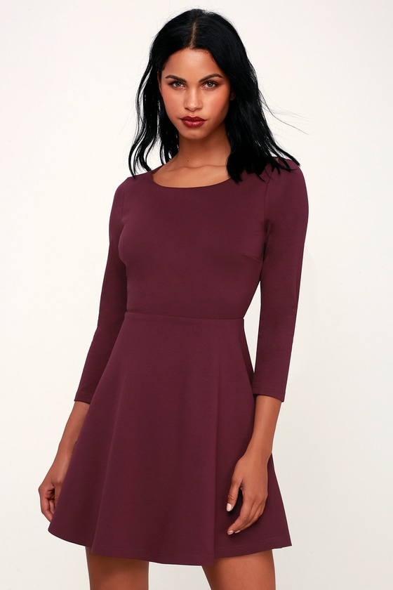 aeb8c9c6ff26 Cute Skater Dress - Plum Purple Skater Dress - Backless Dress