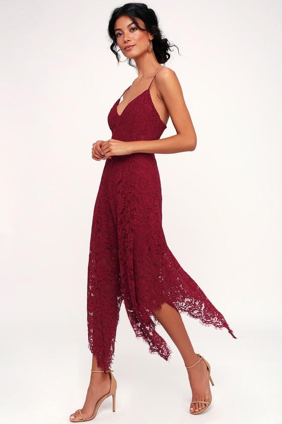 Lovely Burgundy Lace Dress Midi Dress Handkerchief Hem
