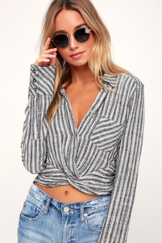 Free People LUST FOR LIFE WHITE STRIPED LONG SLEEVE CROP TOP