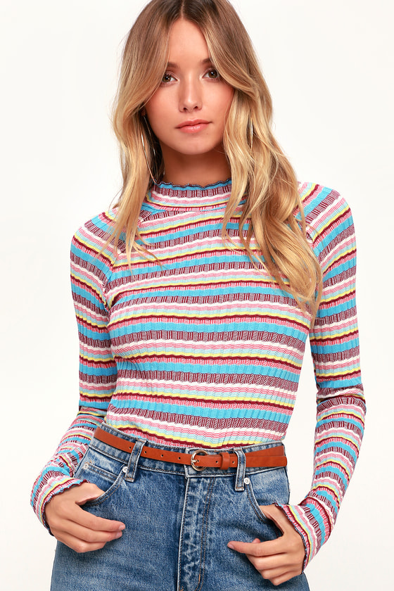 Free People MIRROR BLUE STRIPED MOCK NECK LONG SLEEVE TOP