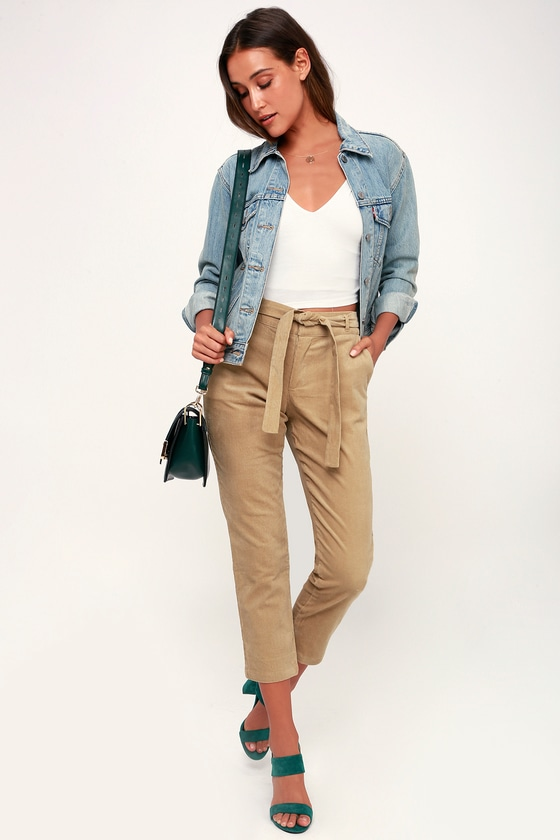 MITCHELL TAN CORDUROY BELTED TROUSER PANTS LULUS
