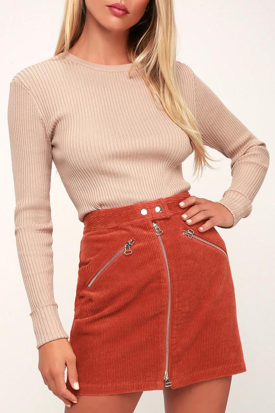 cute rust orange corduroy mini skirt corduroy a line skirt. Black Bedroom Furniture Sets. Home Design Ideas
