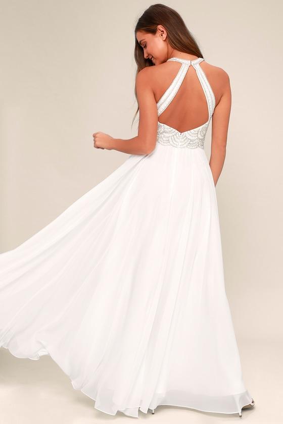 Lovely White Dress - Maxi Dress - Beaded Gown - Bridal Dress