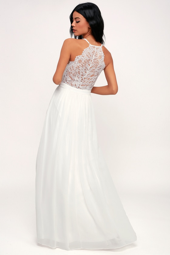 EVERLASTING BEAUTY WHITE LACE MAXI DRESS