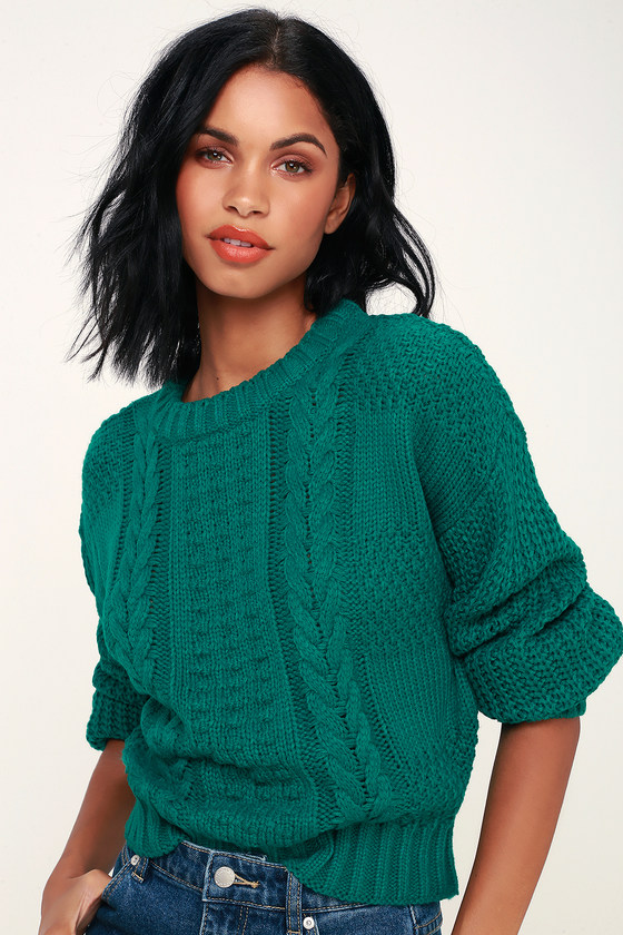 Lush Sweater Jade Green Sweater Cable Knit Sweater Sweater