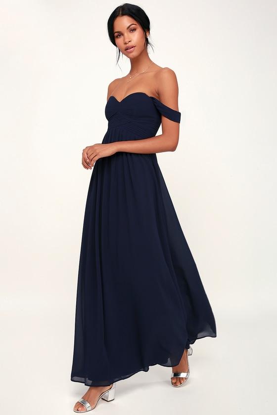 Harmonious Love Navy Blue Off The Shoulder Maxi Dress