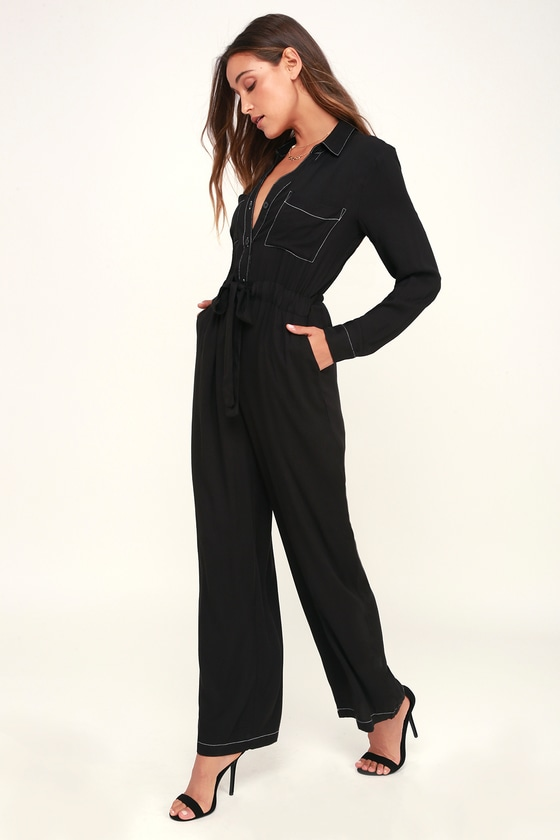 Lush SUIT FOR THE MOON BLACK LONG SLEEVE JUMPSUIT