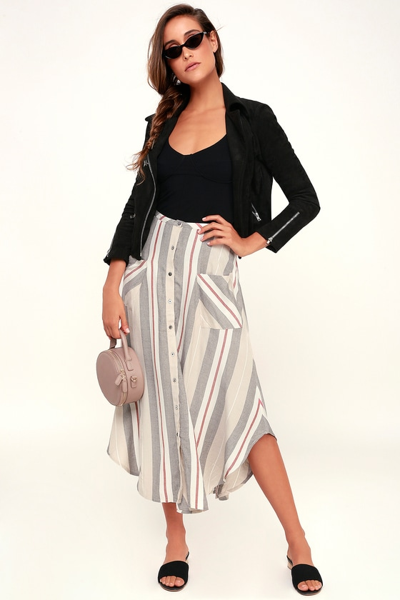 O'Neill SEYMOUR BEIGE MULTI STRIPE BUTTON-FRONT MIDI SKIRT