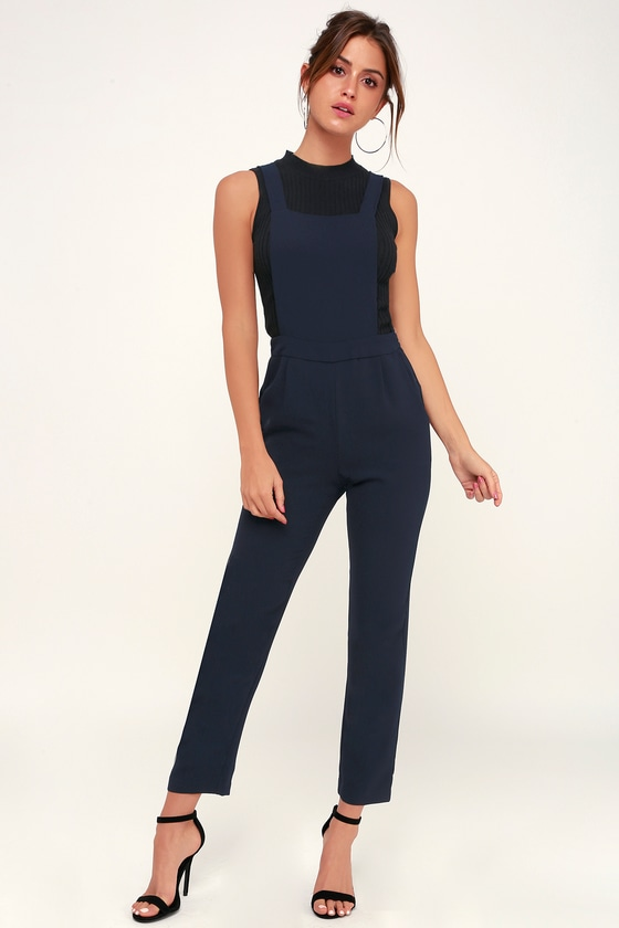 OVER IT NAVY BLUE WOVEN OVERALLS