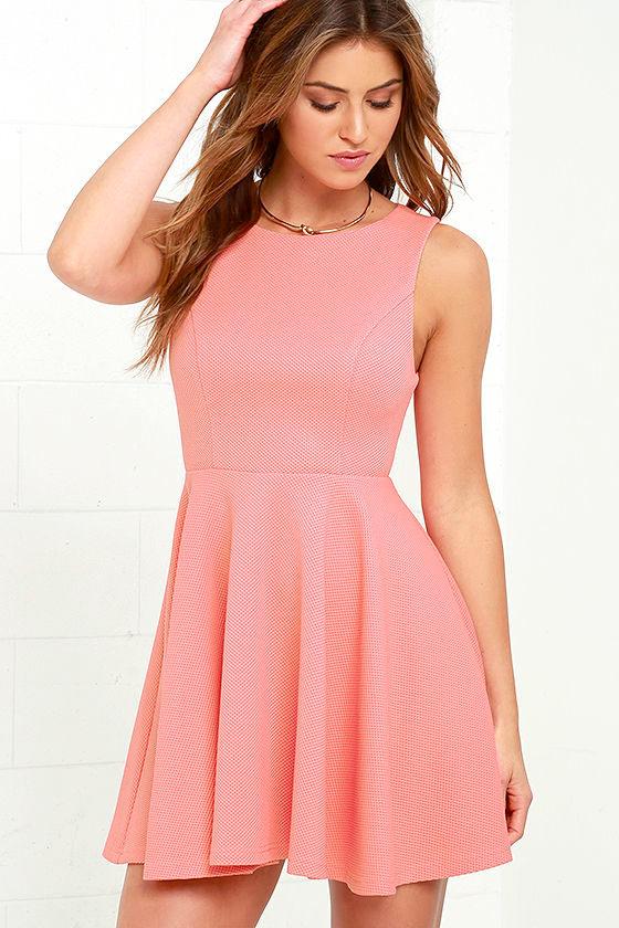 Cute Coral Pink Dress - Skater Dress - Backless Dress - $49.00