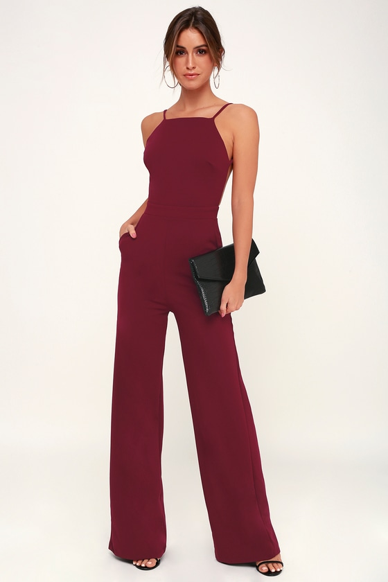 SOMETHING TO BEHOLD BURGUNDY JUMPSUIT