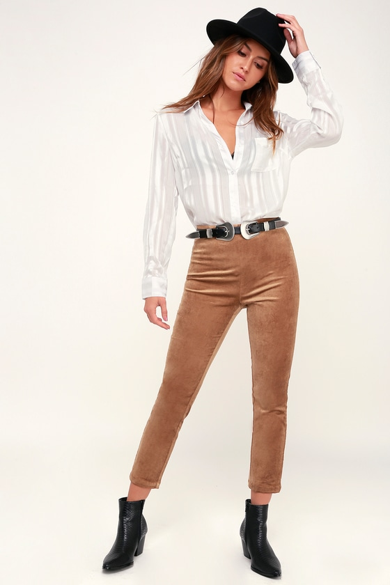 VELVET TOUCH TAN VELVET HIGH-WAISTED PANTS LULUS