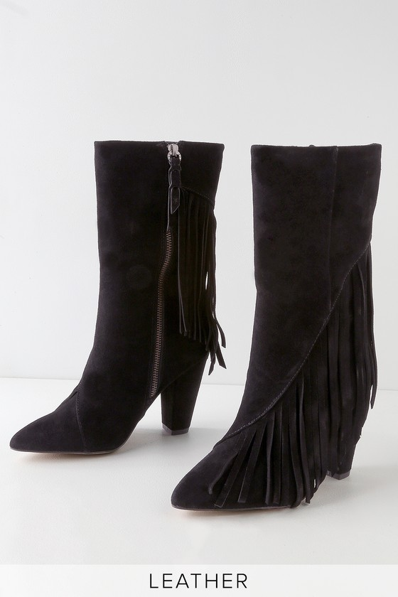 Splendid CAMRON BLACK SUEDE LEATHER FRINGE MID-CALF BOOTS