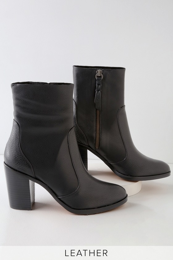 ROSELYN BLACK LEATHER MID-CALF BOOTIES