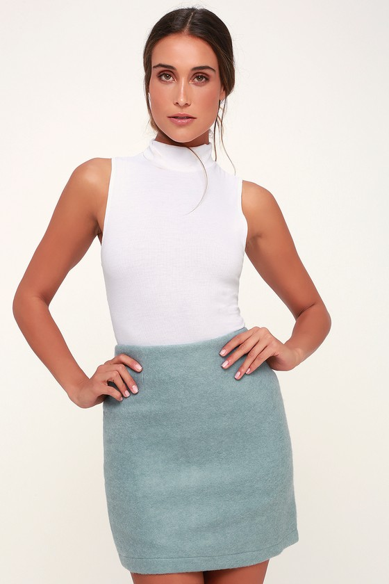 WARNER LIGHT BLUE FUZZY MINI SKIRT