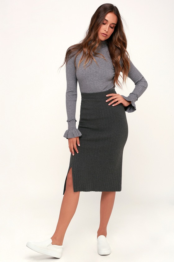 KELLIE CHARCOAL GREY RIBBED SWEATER PENCIL SKIRT