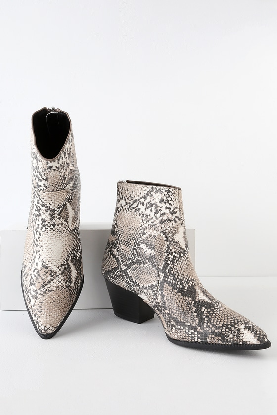 AMINA BEIGE AND BROWN SNAKE PRINT MID-CALF BOOTIES