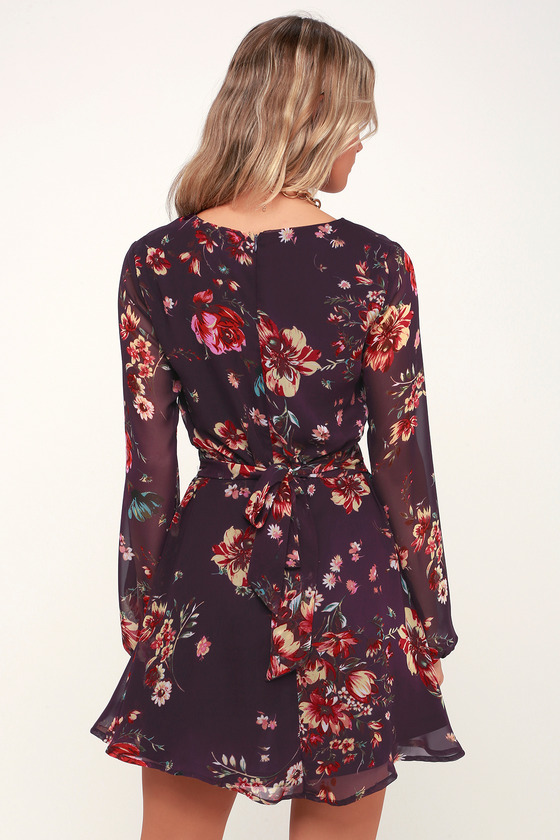 Always Yours Plum Purple Floral Print Long Sleeve Skater Dress cdfbe8352
