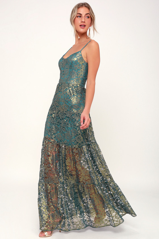 Dress The Population ANTOINETTE TEAL AND GOLD METALLIC LACE MAXI DRESS