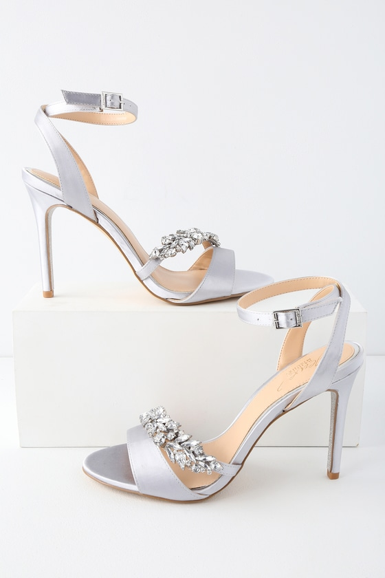 Jewel by Badgley Mischka MERIDA SILVER SATIN RHINESTONE ANKLE STRAP HEELS