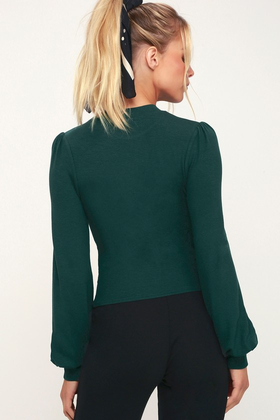 96a4c6a219 Cute Green Top - Long Sleeve Top - Forest Green Top - Ribbed Top