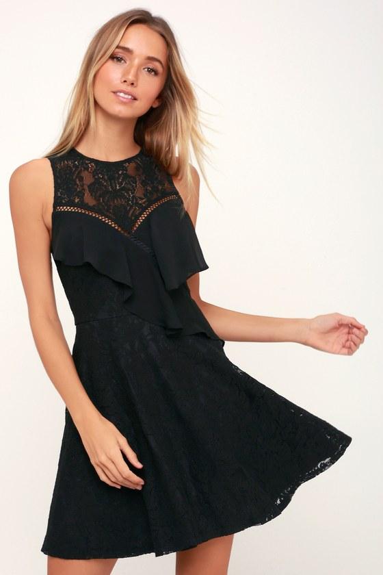 Lovely Black Dress - Lace Dress - Ruffled Dress - Skater Dress