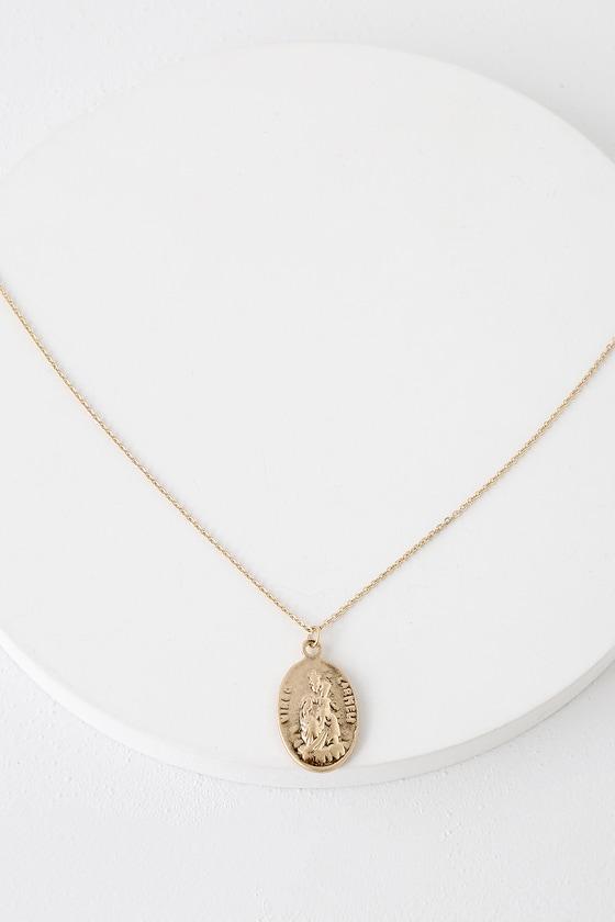 b11e8ab79e2 Cute Gold Necklace - Medallion Necklace - Charm Necklace