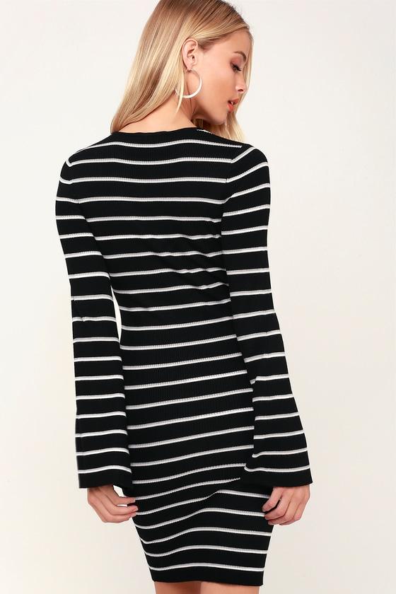 fdb681128ae8 Cute Black Striped Dress - Bell Sleeve Dress - Bodycon Dress