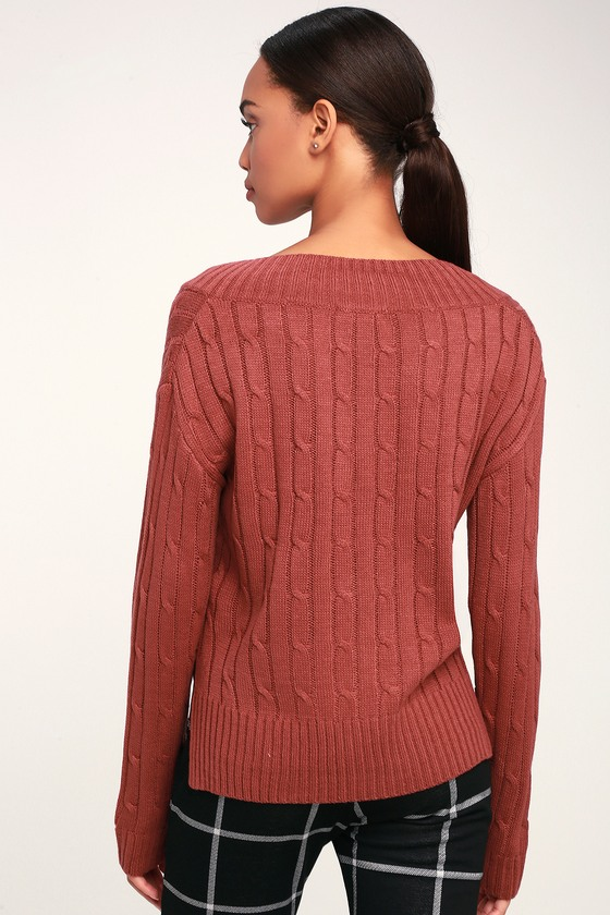 Cute Rusty Rose Sweater Cable Knit Sweater V Neck Sweater