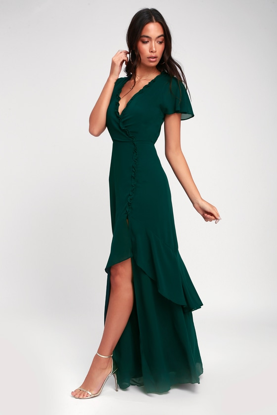 Pour The Champagne Emerald Green Ruffled Backless Maxi Dress by Lulus