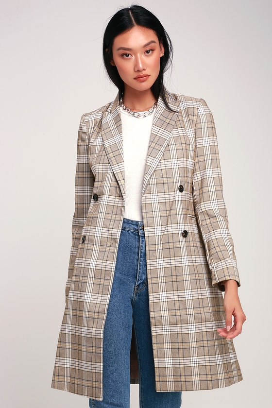 MANCHESTER MOMENT TAN AND WHITE PLAID COAT