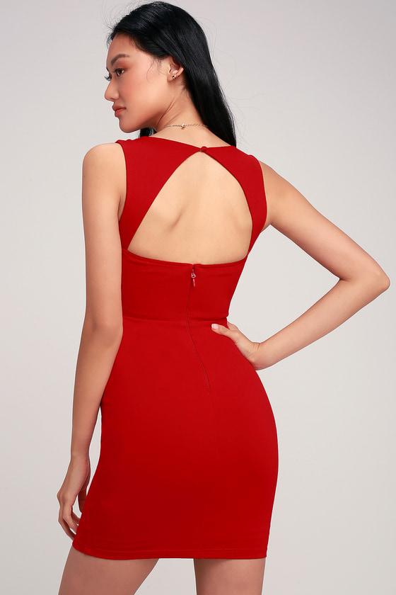 78807c648769 Flirty Little Red Dress - Bodycon Dress - Square Neck Dress