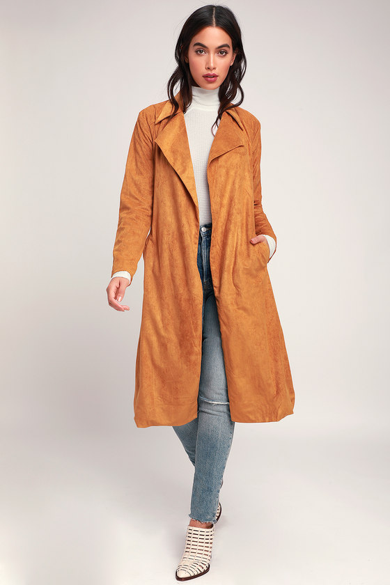 MY WORLD TAN SUEDE TRENCH COAT LULUS