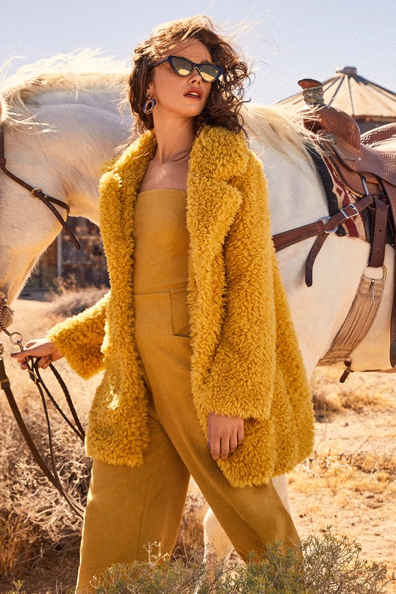 BRIELLA MUSTARD YELLOW FAUX FUR COAT LULUS