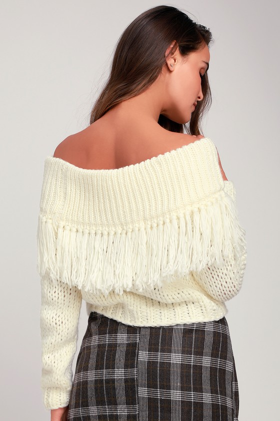 Cute Ivory Sweater Off The Shoulder Sweater Fringe Sweater