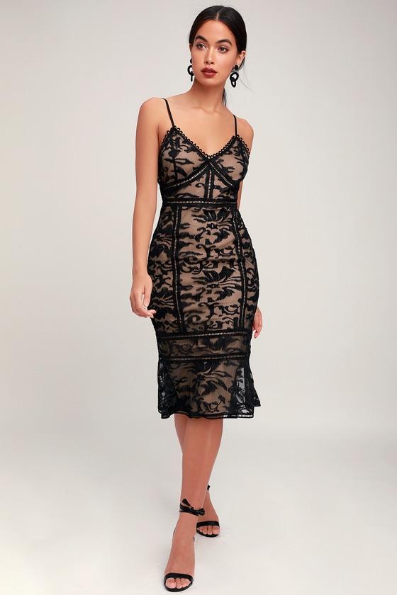 Alluring Love Black and Nude Lace Trumpet Hem Midi Dress