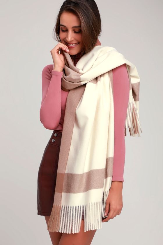 LISI TERRA COTTA AND WHITE SCARF