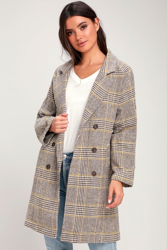 BRYSTL LIGHT BROWN AND MUSTARD YELLOW PLAID TRENCH COAT