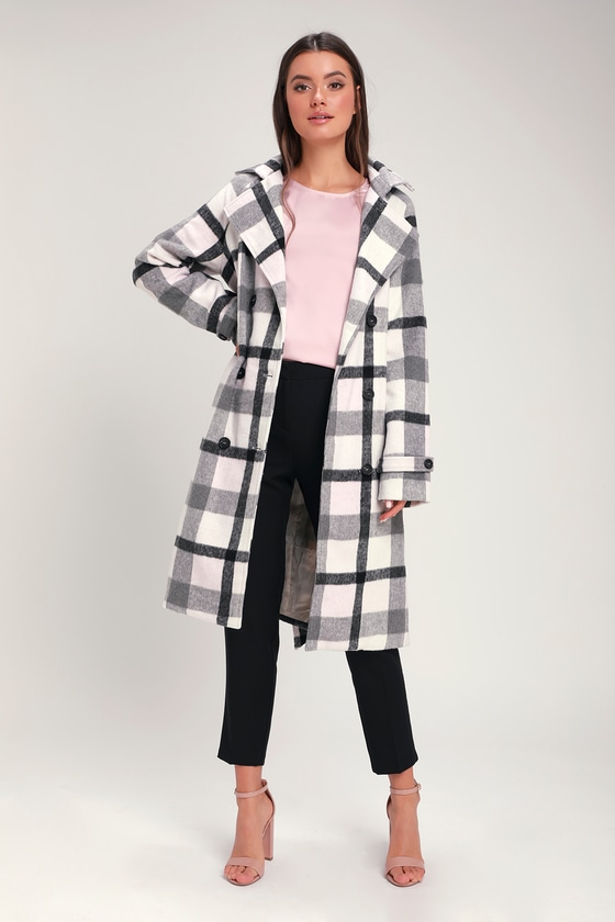 FOND OF YOU BLACK AND WHITE PLAID COAT