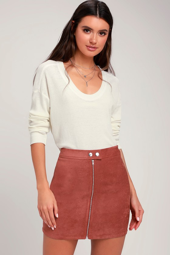LONDON RUST RED SUEDE MINI SKIRT